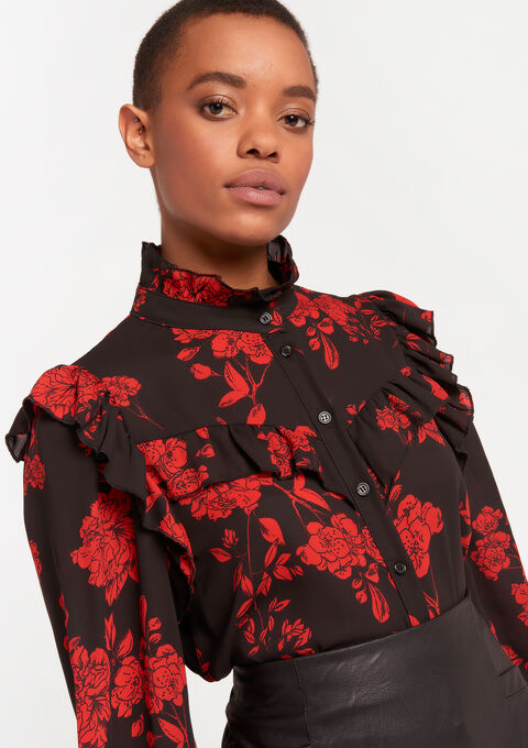Blouse met bloemenprint - BLACK - 05701334_1119