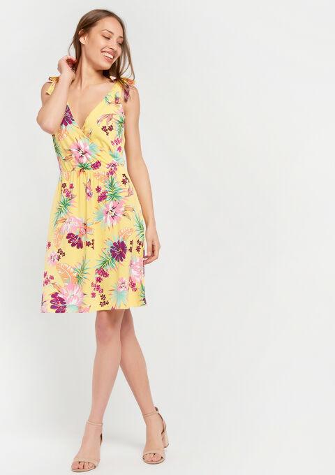 Cache coeur jurk met bloemenprint - YELLOW SUMMER - 08100515_1185