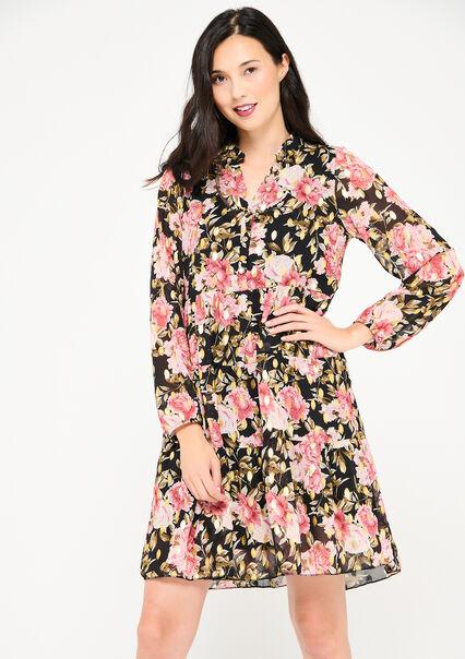Babydoll jurk met bloemen en knoopjes - PINK BEGONIA - 08102687_5700