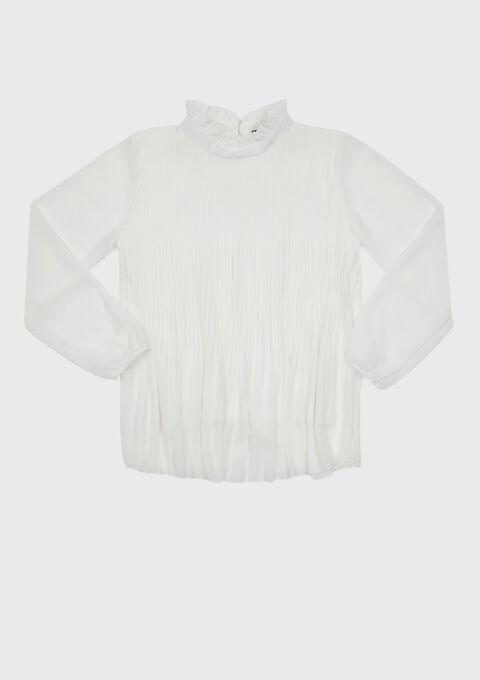Blouse plissée, col montant - WHITE ALYSSUM - 05700294_2502