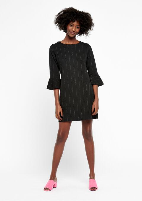Rechte jurk met lurex strepen - BLACK - 933670