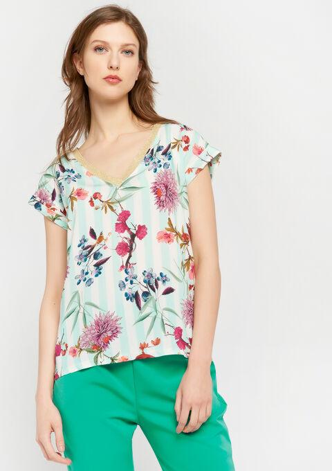 T-shirt met bloemen en strepen - LIGHT AQUA - 947313