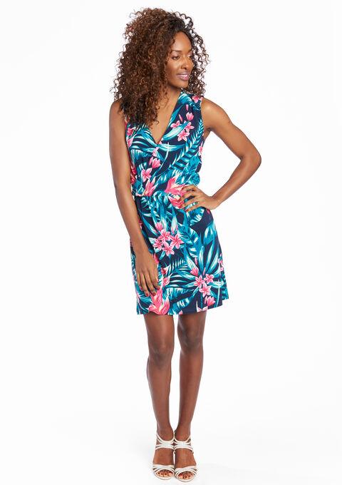 c9fa1d2235d797 Cache-coeur jurk met tropische print - NAVY FAIR - 08005742 2704
