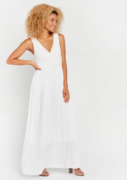 92b24c944c9a24 Effen maxi-jurk met cache coeur-hals - WHITE ALYSSUM - 08600451 2502 ...