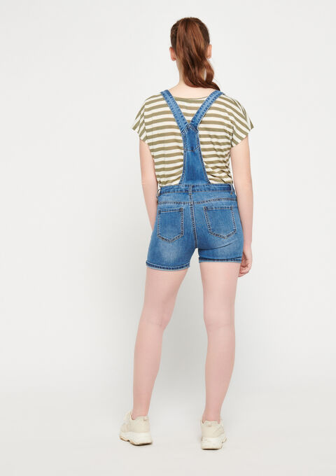 Salopette short in jeans - MEDIUM BLUE - 22000140_500