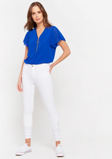 Blouse met rits en kant - BRIGHTY BLUE - 05701430_2807