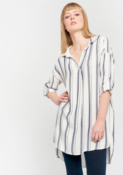 Lange hemd met strepen - ECRU WHITE - 05700541_2506