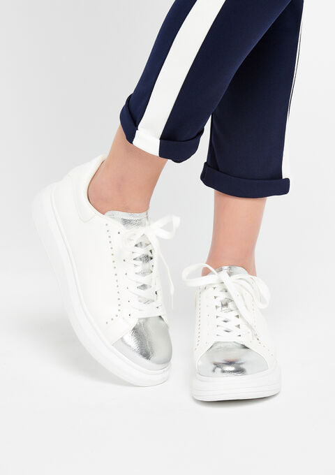 Trendy  sneakers with silver details - OPTICAL WHITE - 13000366_1019