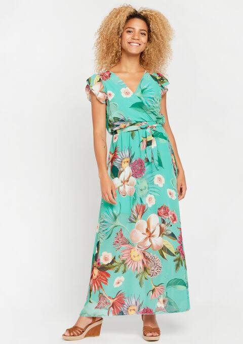Robe longue, à fleurs - TURQUOISE - 953865