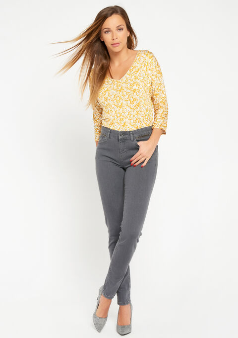 T-shirt met bloemenprint - LEMON CURRY - 02300178_1237