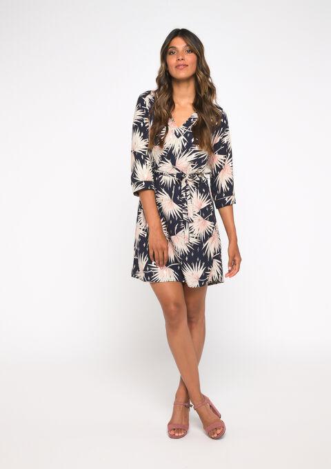 Mini jurk met print - NAVY BLUE - 08101570_1651