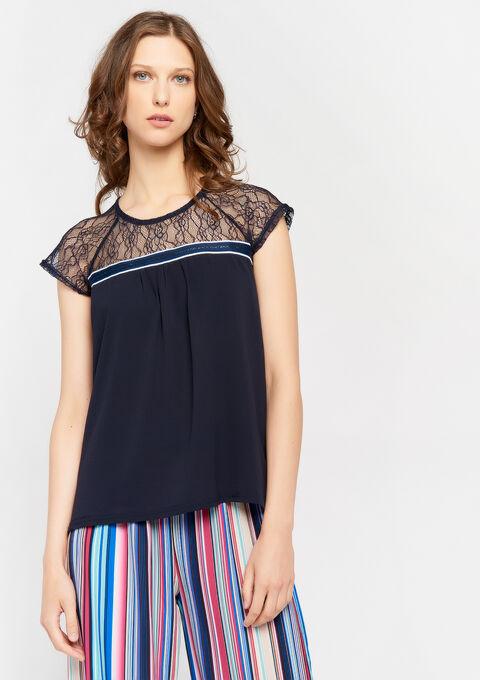 T-shirt met kant - PEACOAT BLUE - 02300479_1655
