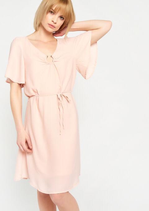 Effen jurk, v-hals met ring - PINK CALM - 928443