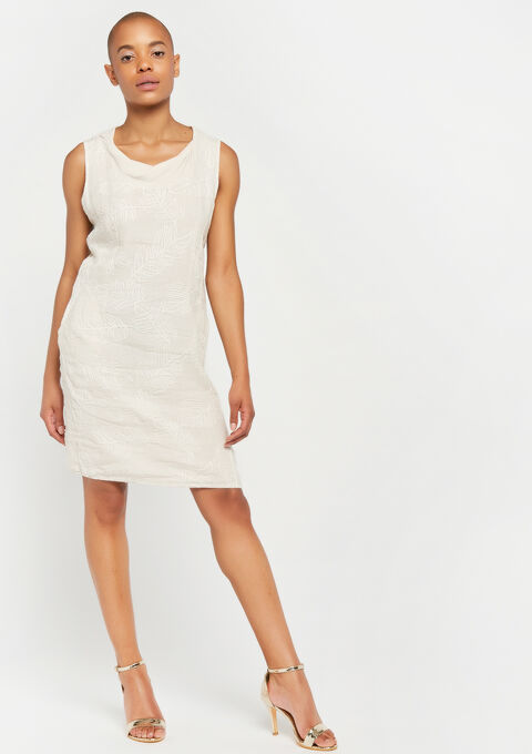Linnen jurk met borduursel - BEIGE BIRCH - 08100737_1929
