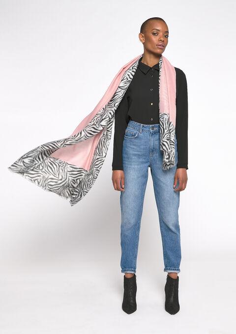Sjaal met zebra print - PINK BLUSH - 983972