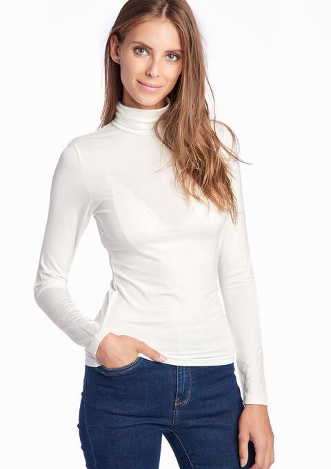 T-shirt met lange mouwen en rolkraag - IVORY WHITE - 02005181_1011