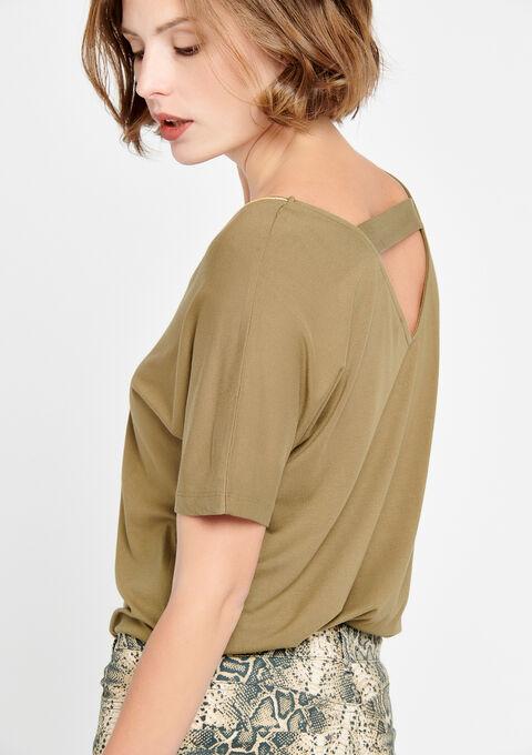 T-shirt met v-hals, vleermuismouw - KHAKI DUSKY - 02500003_4402