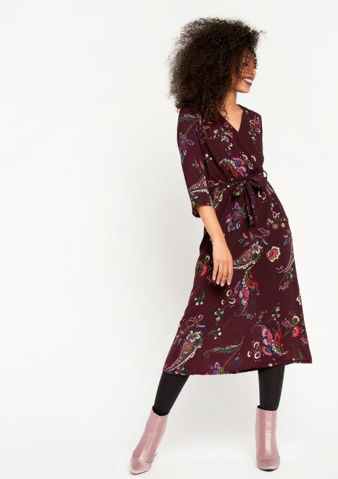 Lange jurk met bloemenprint - BORDEAUX - 08100344_1423