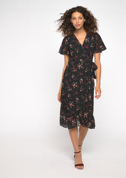 Robe midi cache-cœur - BLACK BEAUTY - 08101589_2600