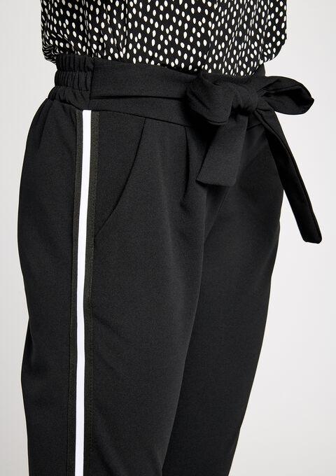 Paperbag broek met zijstreep - BLACK - 06003747_1119