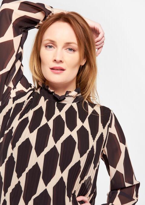 Plissé-blouse met opstaande kraag - BLACK - 05700295_1119