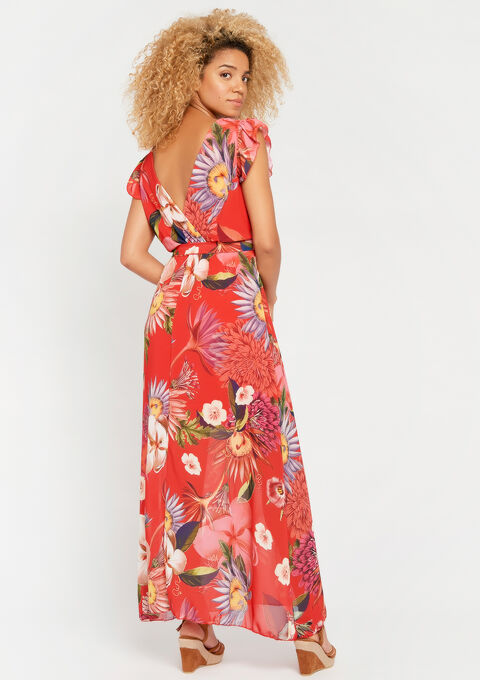 Lange jurk met bloemenprint - CORAL GERBERIA - 08600450_5405