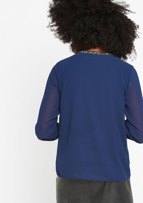 Effen blouse, kraag met lovertjes - NAVY PAPER - 05700129_2708