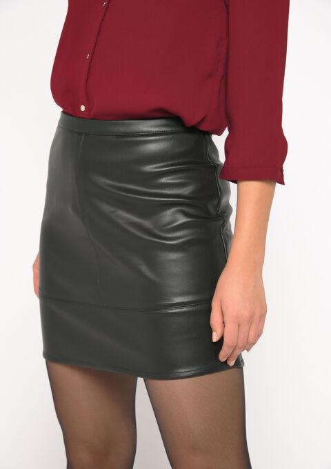 Mini jupe faux-cuir - BLACK - 07100235_1119
