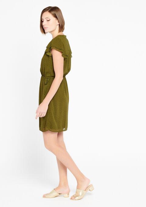 Korte jurk met v-hals - KHAKI - 08100240_433