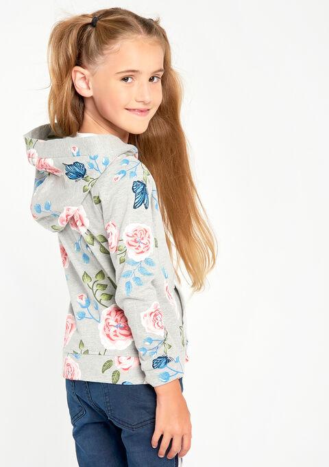 Hoody/ vestje met bloemenprint - LT GREY MELANGE - 03001192_1093