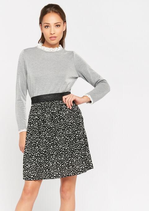 Sweater met victoriaanse kraag - GREY MED MEL - 03001417_3507