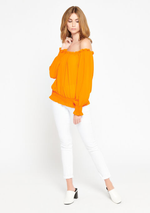 Blouse met open schouders - ORANGE SUNSET - 05700412_5200