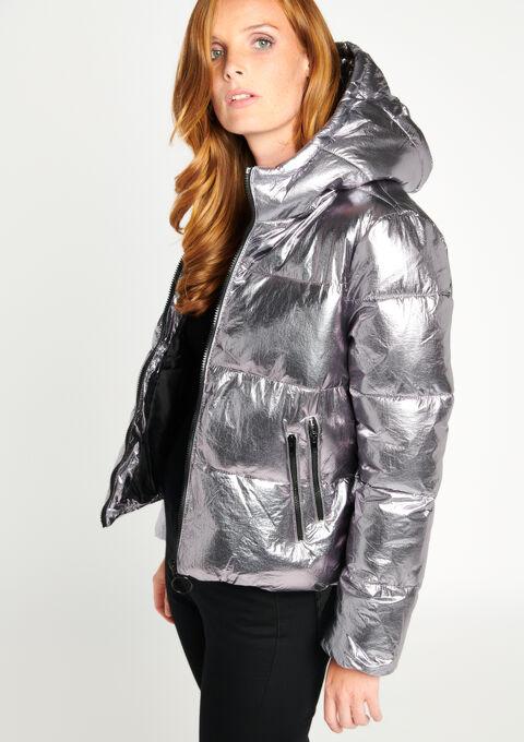 Gewatteerde jas met kap - METALLIC - 10000711_533