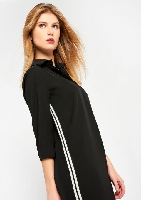 Effen jurk met hemdskraag en tape - BLACK - 08100308_1119