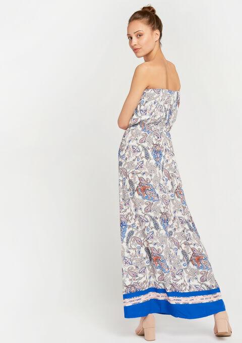 Bustier-jurk met print - WHITE ALYSSUM - 08600106_2502