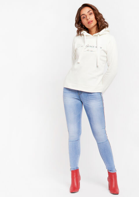 Hoodie with quote - NATURAL WHITE - 03001463_2510