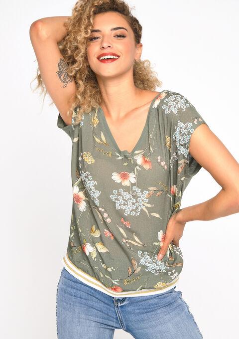 T-shirt met bloemenprint, 2 stoffen - TBC - 02300411_0003