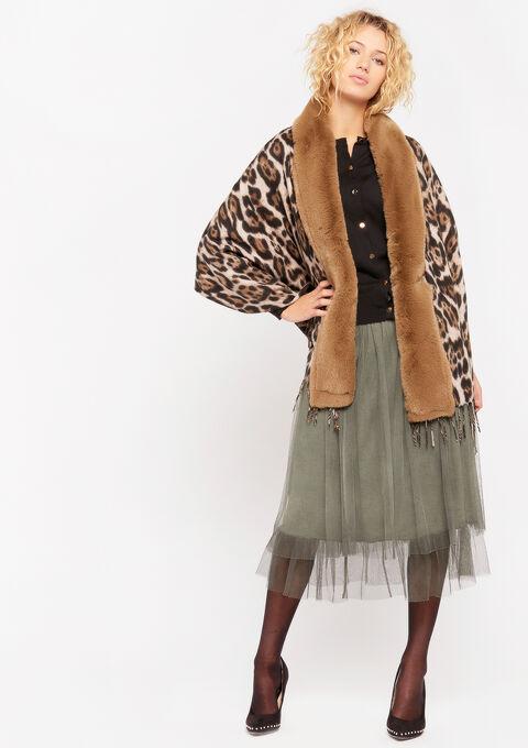Luipaard sjaal met imitatiebont - TAUPE - 977104