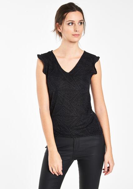T-shirt met lurex, elastisch materiaal - BLACK - 02005453_1119