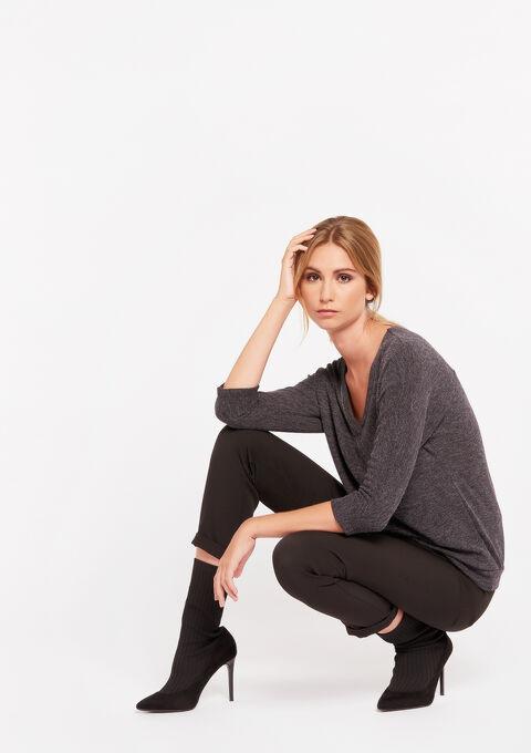 Sweater met v-neck - GREY DARK MEL - 03001448_3407