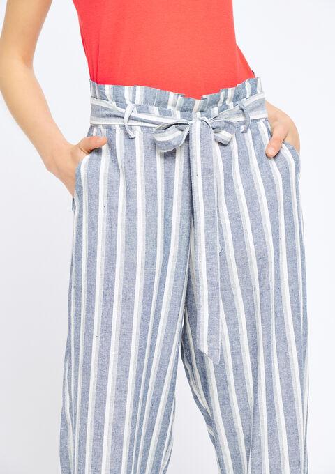 Gestreepte broek met wijde pijpen - NAVY MILD - 06600063_2712