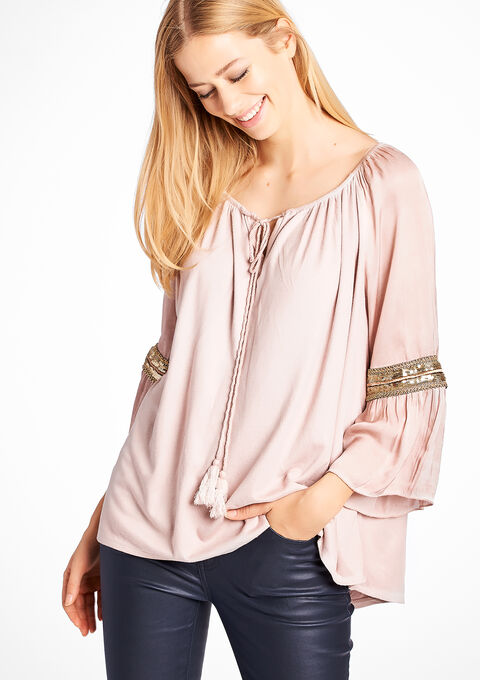 ab5678dc30810d Suede blouse with 3/4 sleeves - PINK BLUSH - 841983