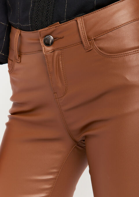 Broek met coated effect - TOFFEE BROWN - 06003889_1154