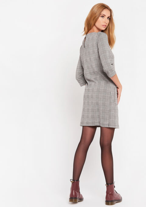 Geprinte mini jurk - GREY - 08101715_1062