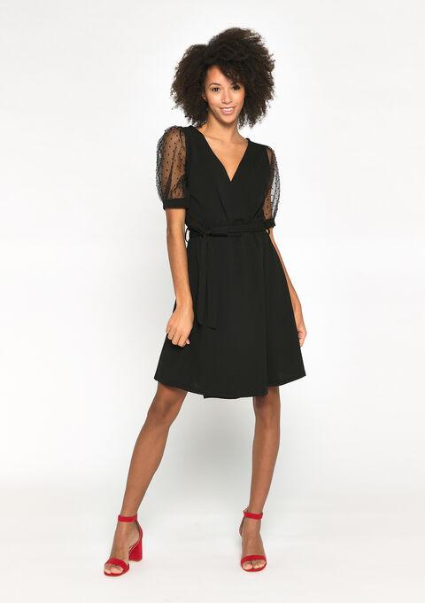 Plissé-jurk met cache-coeur - BLACK BEAUTY - 08102173_2600