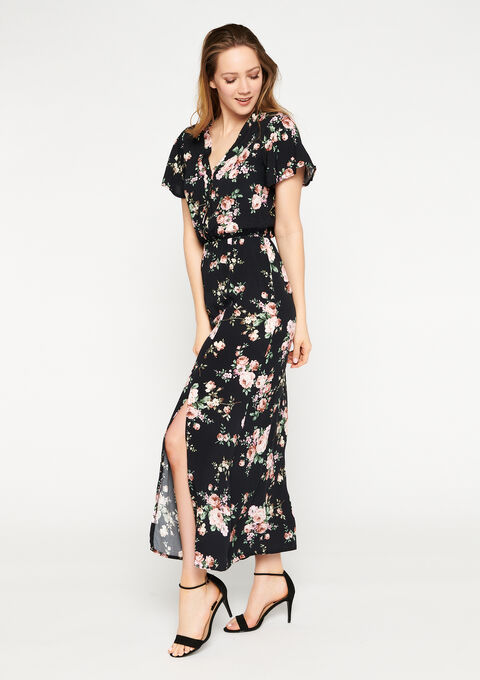 Maxi jurk bloemenprint met split - BLACK BEAUTY - 08601114_2600