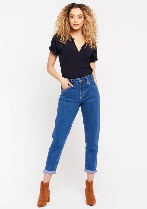 Wijde jeans met hoge taille - MEDIUM BLUE - 22000212_0500