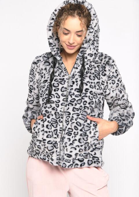 Hoody luipaardprint en imitatievacht - GREY - 15000469_1062
