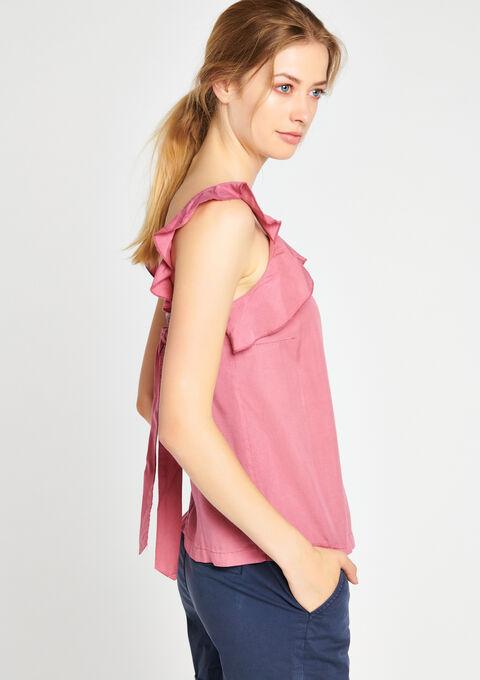 Effen blouse met ruche - PINK BERRY - 05700008_1377