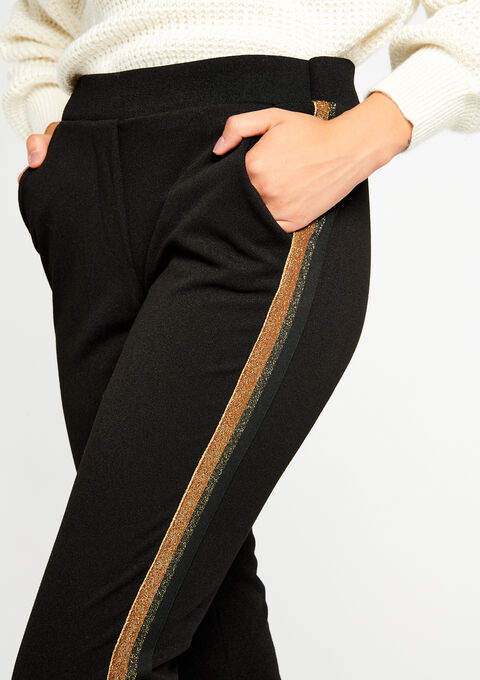 Losse broek met lurex tape - BLACK - 06003759_1119
